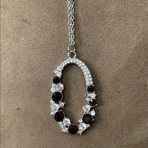 Silver w/Red Color Stone Necklace Set
